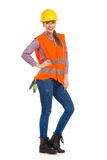 Trabajador de construcción de sexo femenino Full Length Imagen de archivo