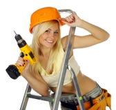 Trabajador de construcción de sexo femenino rubio atractivo foto de archivo libre de regalías