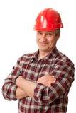 Trabajador de construcción de sexo masculino Imágenes de archivo libres de regalías