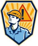 Trabajador de construcción del contratista Caution Sign Retro ilustración del vector
