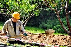 Trabajador de construcción del parque zoológico Pekín Fotografía de archivo