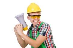 Trabajador de construcción divertido con el altavoz Foto de archivo libre de regalías