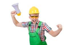 Trabajador de construcción divertido con el altavoz Fotos de archivo