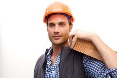 Trabajador de construcción en el trabajo Foto de archivo