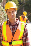 Trabajador de construcción en el trabajo Fotos de archivo