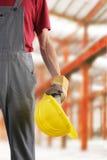 Trabajador de construcción en el trabajo Foto de archivo libre de regalías