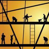 Trabajador de construcción en el vector del trabajo Imágenes de archivo libres de regalías