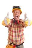 Trabajador de construcción feliz Imagenes de archivo