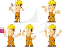 Trabajador de construcción fuerte Mascot 4 Fotografía de archivo libre de regalías