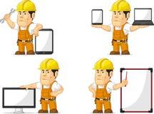 Trabajador de construcción fuerte Mascot 12 Foto de archivo libre de regalías