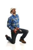 Trabajador de construcción Getting Back Injury Imagen de archivo libre de regalías