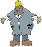 Trabajador de construcción grande que lleva las batas viejas, hechas andrajos stock de ilustración