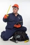 Trabajador de construcción hispánico atractivo foto de archivo