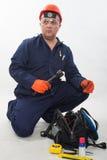 Trabajador de construcción hispánico atractivo fotos de archivo libres de regalías