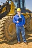 Trabajador de construcción Holding Clipboard fotografía de archivo