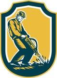 Trabajador de construcción Jackhammer Drill Shield retro Imágenes de archivo libres de regalías