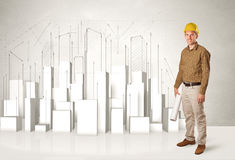 Trabajador de construcción que acepilla con los edificios 3d en fondo Imagen de archivo