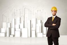 Trabajador de construcción que acepilla con los edificios 3d en fondo Fotos de archivo