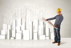 Trabajador de construcción que acepilla con los edificios 3d en fondo Fotos de archivo libres de regalías