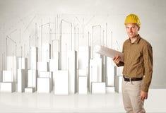 Trabajador de construcción que acepilla con los edificios 3d en fondo Foto de archivo libre de regalías