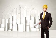 Trabajador de construcción que acepilla con los edificios 3d en fondo Imágenes de archivo libres de regalías