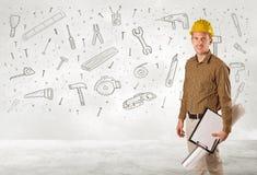 Trabajador de construcción que acepilla con los iconos dibujados mano de la herramienta Imágenes de archivo libres de regalías