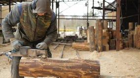 Trabajador de construcción que acepilla un pedazo de madera para un proyecto de edificio La construcción muele el avión eléctrico almacen de metraje de vídeo