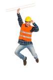Trabajador de construcción que celebra éxito. imágenes de archivo libres de regalías