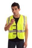 Trabajador de construcción que señala su dedo fotografía de archivo libre de regalías