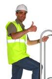 Trabajador de construcción sonriente Foto de archivo libre de regalías