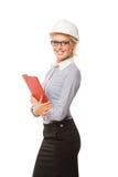 Trabajador de construcción sonriente joven de la mujer con difícilmente Fotos de archivo libres de regalías
