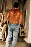 Trabajador de construcción sudoroso Imagen de archivo libre de regalías