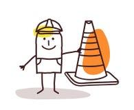Trabajador de construcción Man With una muestra del cono Fotos de archivo libres de regalías