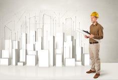 Trabajador de construcción que acepilla con los edificios 3d en fondo Fotografía de archivo libre de regalías