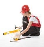 Trabajador de construcción sonriente en uniforme Fotos de archivo libres de regalías