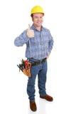 Trabajador de construcción verdadero - Thumbsup Foto de archivo libre de regalías
