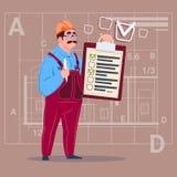 Trabajador de Hold Checklist Construction del carpintero del constructor de la historieta sobre fondo abstracto del plan stock de ilustración