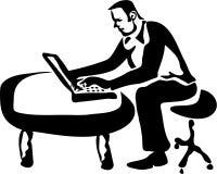 Trabajador del ordenador portátil foto de archivo libre de regalías