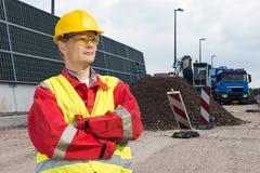 Trabajador de la construcción de carreteras Foto de archivo libre de regalías
