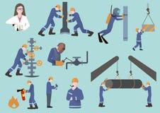 Trabajador de la industria del Oilman, del gasista o del petróleo y gas en la producción Imagenes de archivo