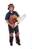 Trabajador de la motosierra Foto de archivo libre de regalías