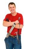 Trabajador de la sonrisa con las herramientas Imagen de archivo libre de regalías