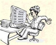 Trabajador de la tensión por el correo electrónico del plazo Imagenes de archivo