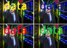 Trabajador de los datos, escribiendo DATOS en la pantalla Foto de archivo