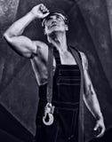 Trabajador de los hombres con el casco anaranjado Imagen de archivo libre de regalías
