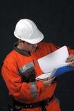 Trabajador de mina con el fichero Fotografía de archivo