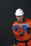 Trabajador de mina con el fichero Imagenes de archivo
