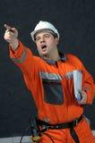 Trabajador de mina con el fichero Fotos de archivo libres de regalías