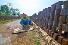 Trabajador de mujer en fábrica del ladrillo Foto de archivo libre de regalías