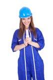 Trabajador de mujer joven con la lámpara ahorro de energía Imagenes de archivo